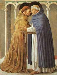 Franciscus en Dominicus, stichters van de dertiende-eeuwse bedelorden.