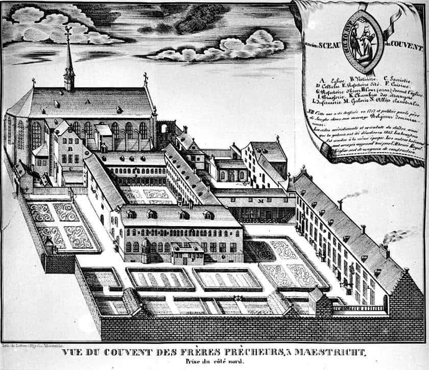 Tekening van het dominicanenklooster Maastricht, 1717. De kerk ervan is nu de befaamde boekwinkel 'Dominicanen'.