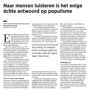 Trouw opinie, 23 november 2016.