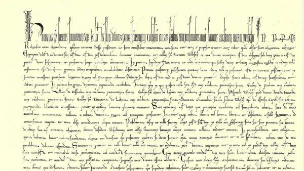 Begin van de bul van paus Honorius. Klik op de afbeelding voor een Engelse vertaling van de tekst.
